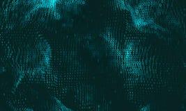 Abstrakt stor datavisualization för vektor Cyan glödande dataflöde som binära nummer Framställning för datorkod stock illustrationer
