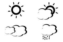 Abstrakt stylowe czarny i biały pogodowe ikony Obraz Stock
