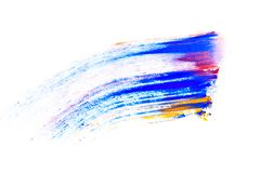 Abstrakt sudd som göras av den mångfärgade pigmentet, isolerat på vit Blandad ljus ögonskugga Naturligt kulört pulver fotografering för bildbyråer