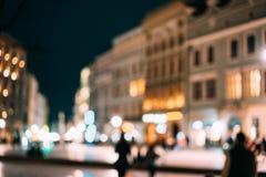 Abstrakt suddig bakgrund av nattcityscape Fotografering för Bildbyråer
