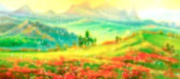Abstrakt suddig sommarfältbakgrund arkivfoto