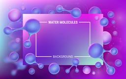 abstrakt suddighet bakgrundsblue Molekylar av vatten i rörelse Vibrerande lutningar och geometriska former Lysande atomer vektor illustrationer