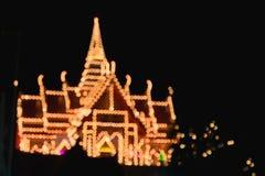 Abstrakt suddighet och bokeh av ljus på templet i Thailand Royaltyfri Foto