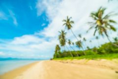 Abstrakt suddighet och defocused tropiskt strand och hav med kokosnöten Arkivbild