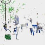Abstrakt suddighetsfolk i utomhus- aktivitet, modern livsstil, hög tangent Kopieringsutrymme som är klart för din design Royaltyfria Foton