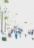 Abstrakt suddighetsfolk som strosar längs en boulevard i staden, i utomhus- aktivitet, modern livsstil Klart kopieringsutrymme Arkivfoton
