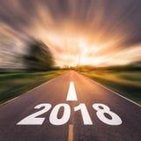 Abstrakt suddighetsnummer av 2018 för begrepp för nytt år på landet roa Fotografering för Bildbyråer