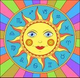 Abstrakt sun med zodiactecken Arkivbilder
