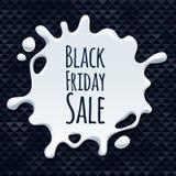 Abstrakt svart design för klistermärke för fredag försäljningsfärgstänk Arkivfoto