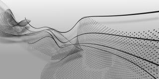 Abstrakt svart fodrar och punkter av vågform på vit bakgrund illustration för 3 D arkivfoto