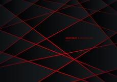 Abstrakt svart geometrisk polygon på röd bakgrund för begrepp för design för teknologi för neon för laser ljus futuristisk royaltyfri illustrationer