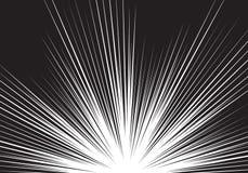 Abstrakt svart linje botten för ljus hastighet för zoom på vit för komisk bakgrundsvektor för tecknad film Royaltyfri Bild
