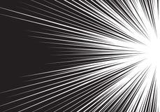 Abstrakt svart linje sida för ljus hastighet för zoom på vit för komisk bakgrundsvektor för tecknad film Royaltyfria Foton