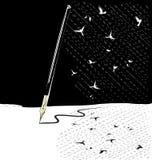 abstrakt svart pennwhite skriver royaltyfri illustrationer