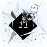 Abstrakt svart romb, som är bruten in i små stycken Abstrakt modern mallillustration för geometrisk design Royaltyfri Bild