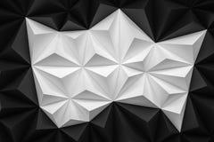 Abstrakt svartvit låg poly bakgrund med kopieringsutrymme 3d Royaltyfri Bild