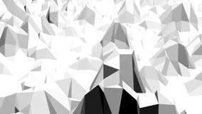 Abstrakt svartvit låg poly vinkande yttersida 3D som bakgrund Abstrakt geometrisk vibrerande miljö för grå färger eller lager videofilmer