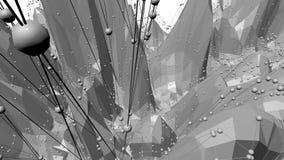 Abstrakt svartvit låg poly vinkande yttersida som modemiljö Abstrakt geometrisk vibrerande miljö för grå färger stock video