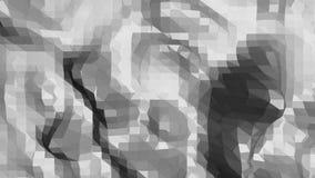 Abstrakt svartvit låg poly vinkande yttersida som tecknad filmbakgrund Abstrakt geometrisk vibrerande miljö för grå färger eller lager videofilmer