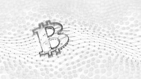 Abstrakt svartvitt Bitcoin tecken som byggs som en samling av transaktioner i Blockchain den begreppsmässiga illustrationen 3d royaltyfri foto