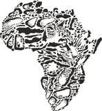 Abstrakt symbol Afrika i fördunklad leopardkamouflage Arkivbild