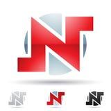 Abstrakt symbol för bokstav N Arkivbild