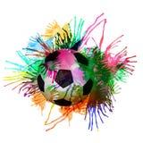 Abstrakt symbol för fotbollvattenfärgdesign. Royaltyfri Fotografi