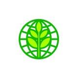 Abstrakt symbol för jordklot för världsjorddag med bladet Royaltyfri Foto