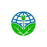 Abstrakt symbol för jordklot för världsjorddag med bladet Arkivfoton