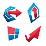 Abstrakt symbol med en pil i formen av att peka för checkmark Stock Illustrationer