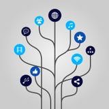 Abstrakt symbolsträdillustration - internet-, massmedia-, kommunikations- och teknologibegrepp Arkivbild