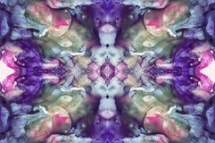 Abstrakt symmetrycbakgrund för livliga färger för fantasidesign Hand dragen vattenfärgbild för original- design Arkivfoton