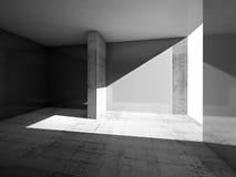 Abstrakt töm ruminre med gråa väggar Arkivfoto