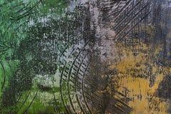 Abstrakt tapet av olje- målning med borsteslaglängder i kalla färger Royaltyfri Foto