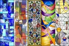 Abstrakt tappning för målat glass och vektorsats för moderna designer vektor illustrationer