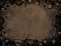 Abstrakt tappning tar tid på steampunkmörkerbakgrund Arkivbilder