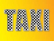 Abstrakt taxiadvertizing med metallisk inramad text Arkivbilder