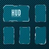 Abstrakt techniki sci fi szablonu projekta futurystyczny układ cześć HUD elementu set również zwrócić corel ilustracji wektora royalty ilustracja