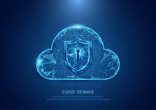 Abstrakt technologii ochrony obłoczna forma gwiaździsty niebo internet ilustracja wektor