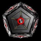 Abstrakt technoobjekt Femhörnig dodecahedron med stjärnan i mitt av varje framsida Stock Illustrationer