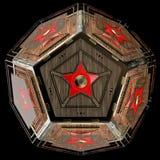 Abstrakt technoobjekt Femhörnig dodecahedron med stjärnan i mitt av varje framsida Arkivbild