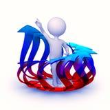 Abstrakt teckeninsida cirklar av färgrika pilar stock illustrationer