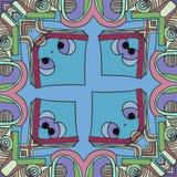 Abstrakt tecknad film för bakgrund - blyg framsida som ser dig stock illustrationer
