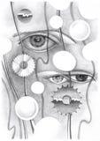 Abstrakt teckning av ögat och objekten royaltyfri illustrationer