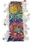 Abstrakt teckning av ett torn av kulöra fyrkanter Arkivbild