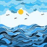 Abstrakt teckning i stilen av ett dudling hav, vågor och himmel Natur i en abstrakt stil arkivfoto