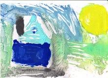 Abstrakt teckning med vattenfärgmålarfärg Royaltyfria Bilder