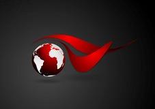 Abstrakt teknisk logo med det mörka jordklotet Arkivbilder