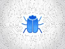Abstrakt tekniskt avancerat strömkretsbräde med en hackerfelet Dataintrång- och cyberbrott Royaltyfria Bilder