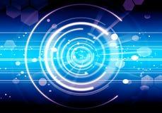 Abstrakt teknologi för signalljus för blått för bakgrundsLens framtid Royaltyfri Foto